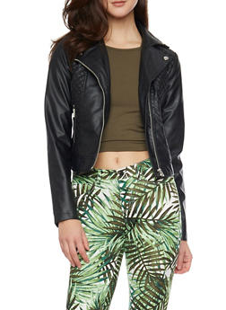 Quilted Faux Leather Moto Zip Front Jacket - 1087051065033