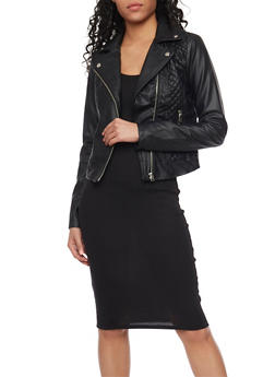 Quilted Faux Leather Zip Front Jacket - 1087051065053