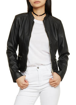 Faux Leather Moto Jacket with Quilted Shoulders - 1087051065087