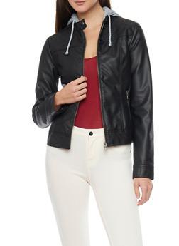 Faux Leather Moto Jacket with Fleece Hood - 1087051065200
