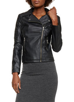 Faux Leather Moto Jacket - 1087051065327