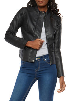 Side Stitch Faux Leather Jacket - 1087051065352