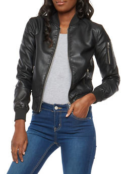 Rib Knit Trim Faux Leather Bomber Jacket - 1087051065789