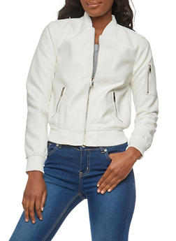 Rib Knit Trim Faux Leather Bomber Jacket - 1087051065789