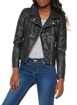 Faux Leather Moto Jacket with Stitching Detail - 1087051065790