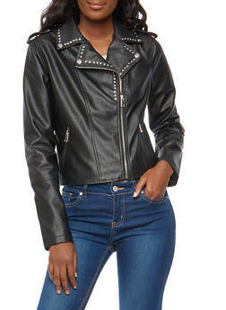 Studded Faux Leather Moto Jacket - 1087051065853