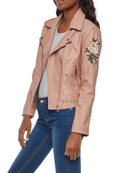 Floral Embroidered Faux Leather Moto Jacket - 1087051065915