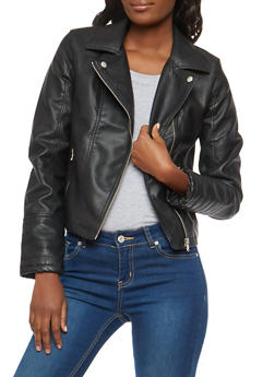 Faux Leather Jacket with Stitched Cuffs - 1087051066204