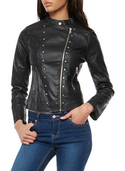 Studded Faux Leather Moto Jacket - 1087051066332