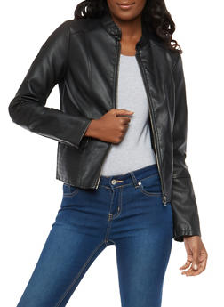 Stitch Detail Faux Leather Jacket - 1087051066337