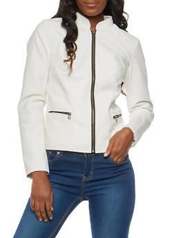 Stitch Detail Faux Leather Jacket - 1087051066337