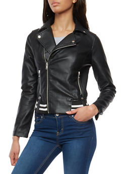 Stripe Trim Faux Leather Moto Jacket - 1087051066424