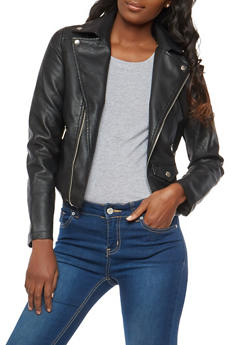 Asymmetrical Zip Faux Leather Moto Jacket - 1087051066545