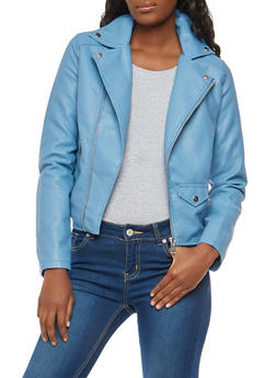 Asymmetrical Zip Faux Leather Moto Jacket - 1087051066545
