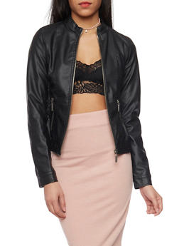 Faux Leather Smock Waist Moto Jacket - 1087051067000