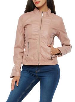 Faux Leather Smock Waist Moto Jacket - 1087051067000
