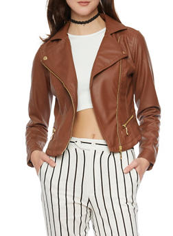 Faux Leather Moto Jacket with Asymmetrical Zip Front - 1087051067203