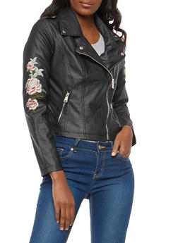 Floral Embroidered Faux Leather Moto Jacket - 1087051067400