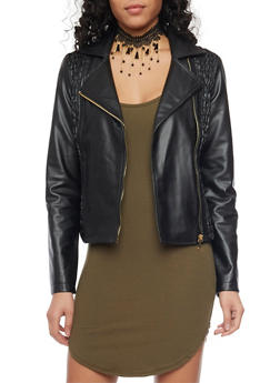 Faux Leather Asymmetrical Zip Up Moto Jacket with Smocked Sides - 1087051067563