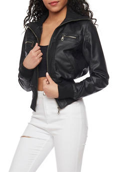 Faux Leather Knit Trim Moto Jacket - 1087051069000