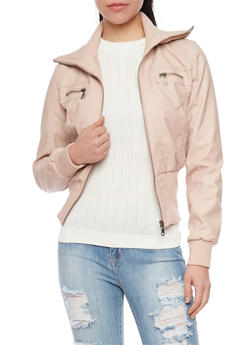 Faux Leather Zip Up Moto Jacket with Knit Collar and Cuffs - 1087051069300