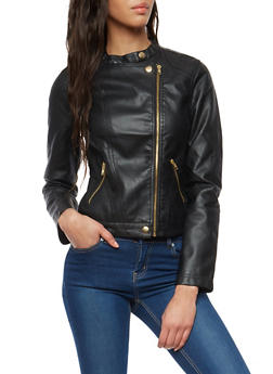 Zip Up Faux Leather Moto Jacket - 1087051069600