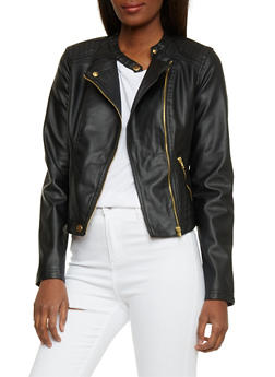 Faux Leather Mandarin Collar Moto Jacket - 1087051069633