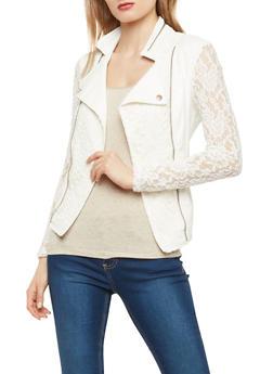 Faux Leather Lace Blazer - 1087074002171