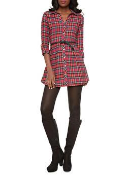 Tartan Plaid Button-Down Shirt Dress With Belt And Convertible Sleeves,RED,medium