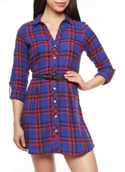 Convertible Sleeve Plaid Button-Down Dress With Removable Belt,MONARCH BLUE,medium