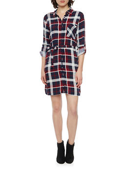 Plaid Shirt Dress with Belt - NAVY - 1090038341579