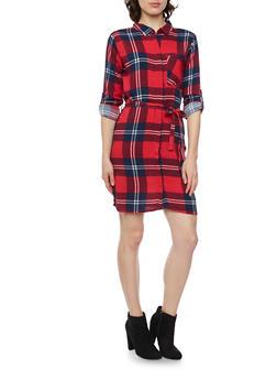 Plaid Shirt Dress with Belt - RED - 1090038341579