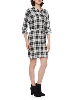 Plaid Shirt Dress with Belt - WHT-BLK - 1090038342579