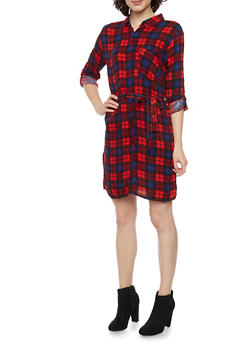Plaid Shirt Dress with Tie Belt - RED - 1090038342579