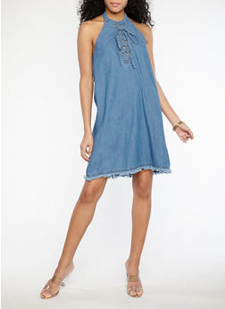 Halter Neck Lace Up Denim Dress - 1090038342925