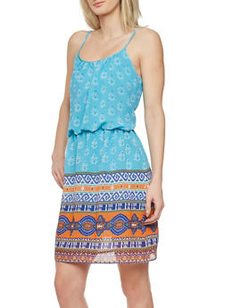Empire Waist Dress with Spaghetti Straps and Tribal Print - 1090038346728