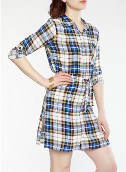 Plaid Button Front Dress - 1090038347780