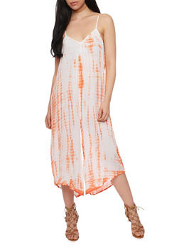 Sleeveless Tie Dye Palazzo Jumpsuit - ORANGE - 1090038348328