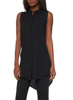 Sleeveless High Low Shirt Dress - 1090038348702