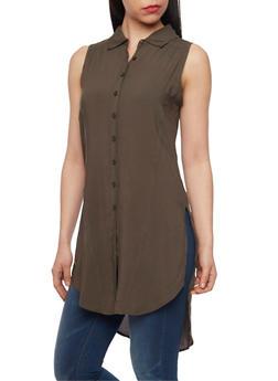 Sleeveless High Low Shirt Dress - OLIVE - 1090038348702