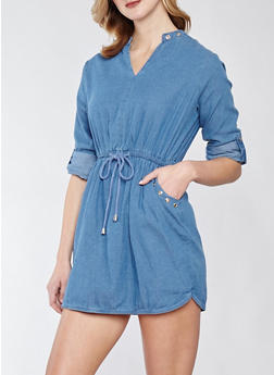 Grommet Detail Denim Dress - MEDIUM WASH - 1090038349720