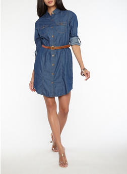 Belted Button Front Denim Dress - 1090038349721