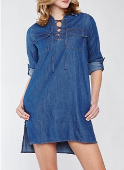 Denim Lace Up Shirt Dress - DARK WASH - 1090038349724