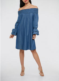 Denim Off the Shoulder Dress - 1090038349737