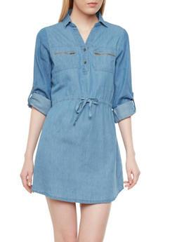Denim Shirt Dress With Exposed Zipper Pockets - 1090051062484