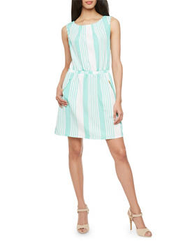 Striped Sheath Dress with Exposed Zipper Pockets - 1090051062550