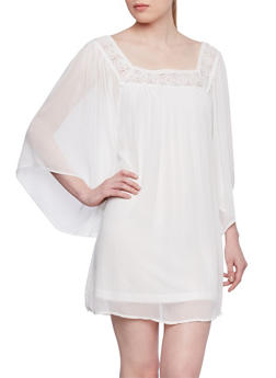 Boho Top with Crochet Square Neck - 1090051062654