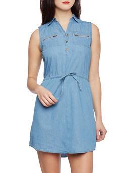 Sleeveless Denim Shirt Dress with Drawstring Waist - 1090051062708