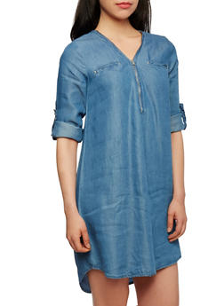 Chambray Shirt Dress with Zip-Up V Neck - 1090051062709