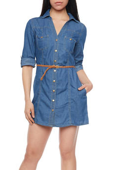 Tabbed Sleeeve Chambray Shirt Dress with Braided Belt - MEDIUM WASH - 1090051062759